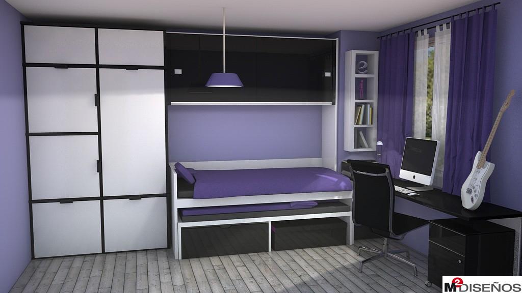 Dormitorio juvenil en tonos morados m dise os - Disenar dormitorio juvenil ...