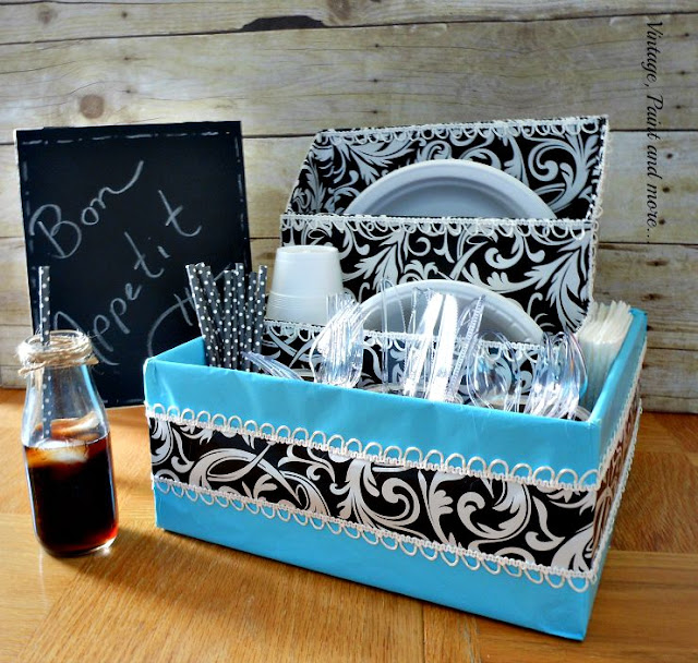Vintage, Paint and more... Dorm room dish organizer diy'd from old boxes