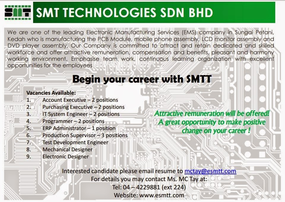 Kerja Kosong SMT Technologies Sungai Petani