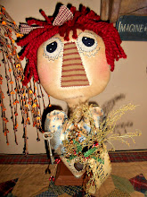 PRIMITIVE RAGGEDY HEAD MAKEDO WITH HEART & KEY