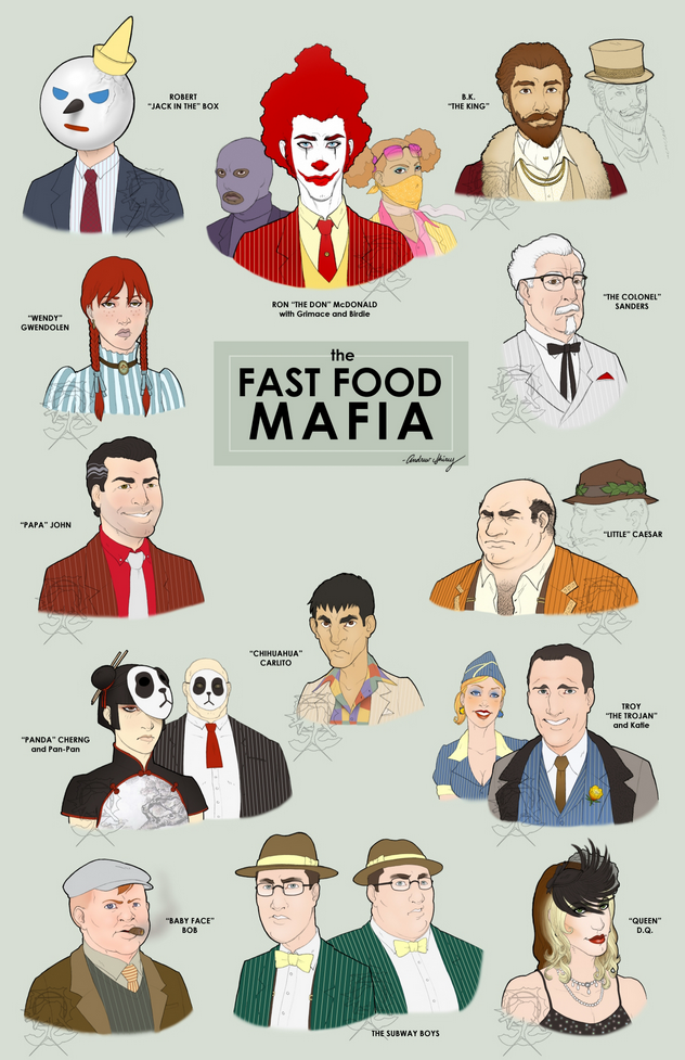 The Fast Food Mafia Robert Jack In The Box Ron The McDonald B.k The King Wendy Gwendolen The Colonel Sanders Little Caesar