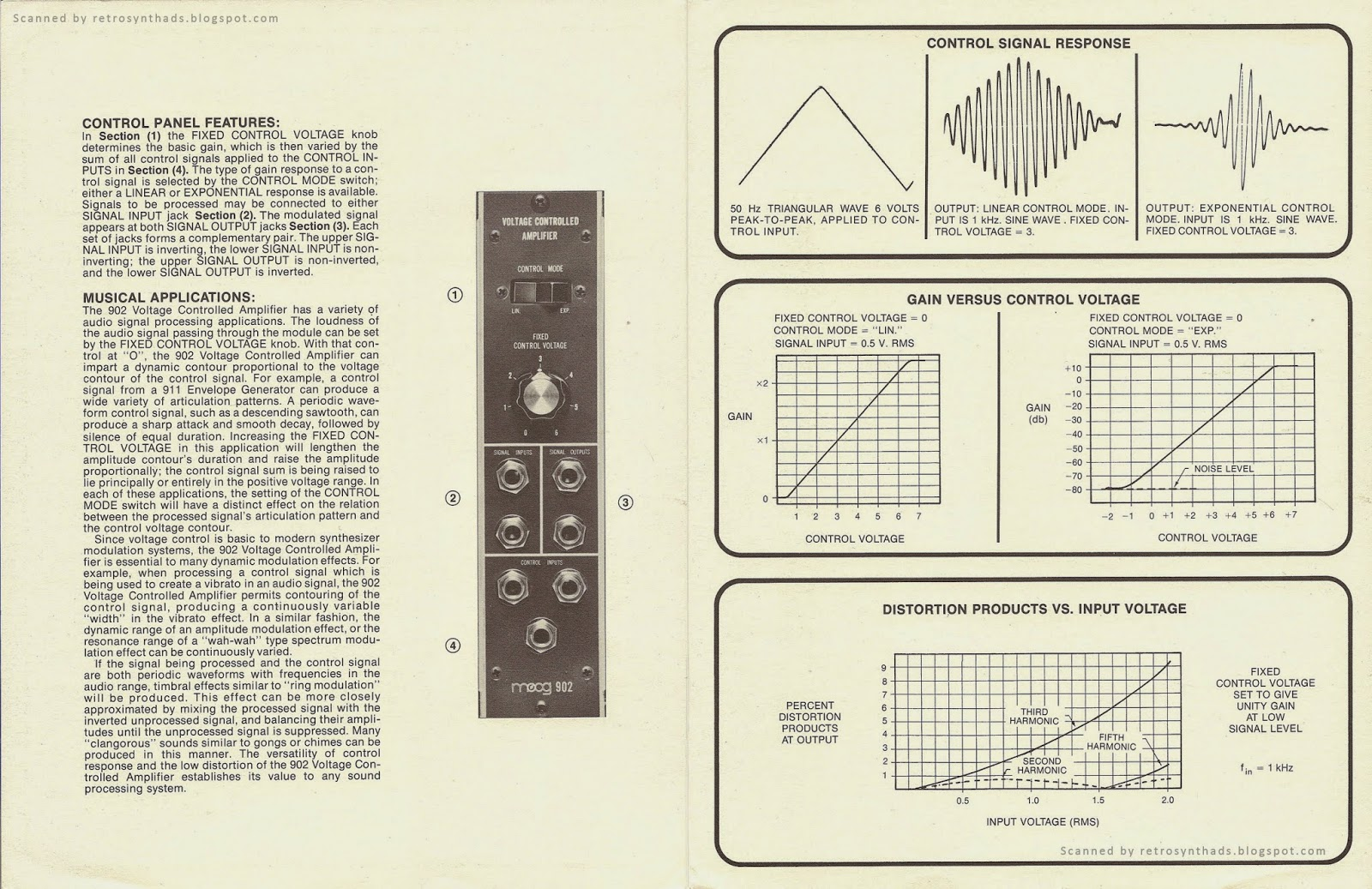 Retro Synth Ads Moog 902 Voltage Controlled Amplifier Brochure 1976 Taurus Schematics 2 Four Page From