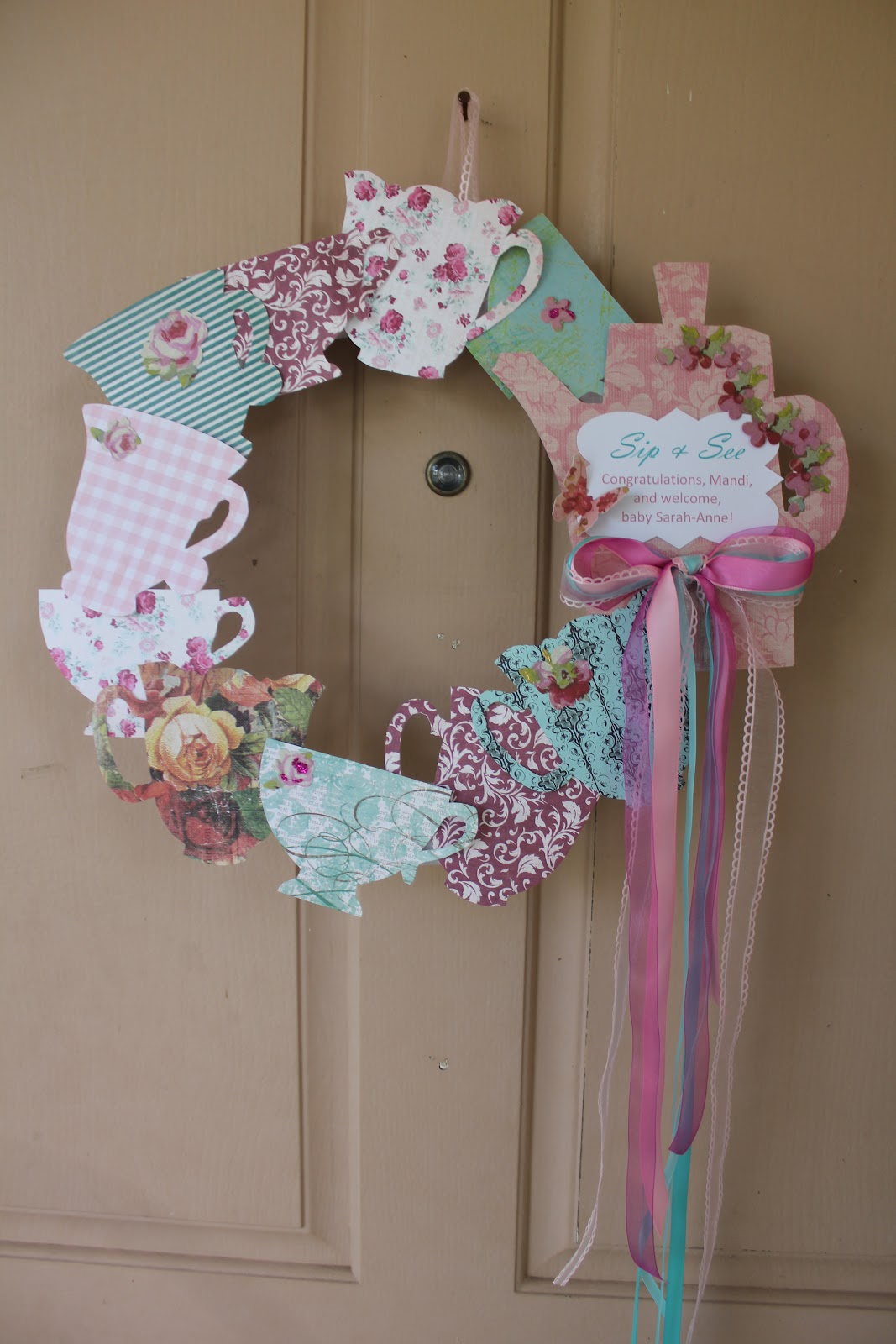 Precise is nice sip and see baby shower tea party style for Baby shower door decoration