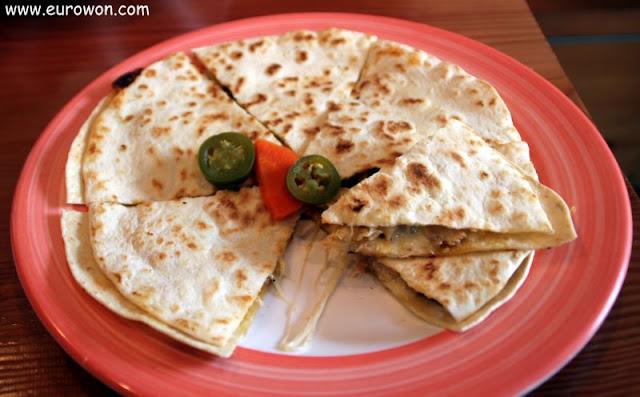 Quesadilla de restaurante mexicano en Seúl