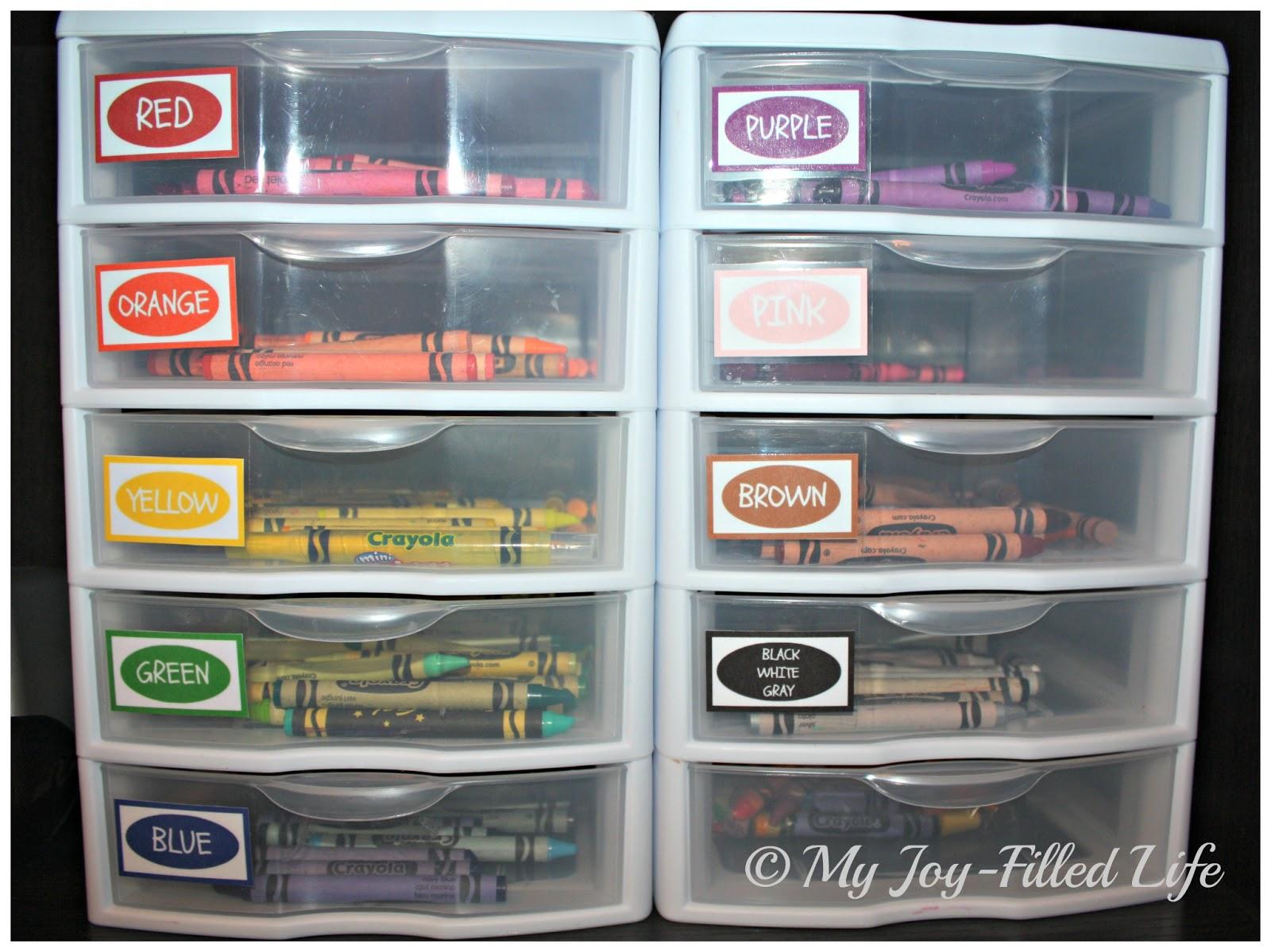 crayon organization color labels printable my joy filled life