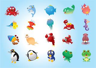 海の生物の漫画 funny fishes and ocean wildlife characters