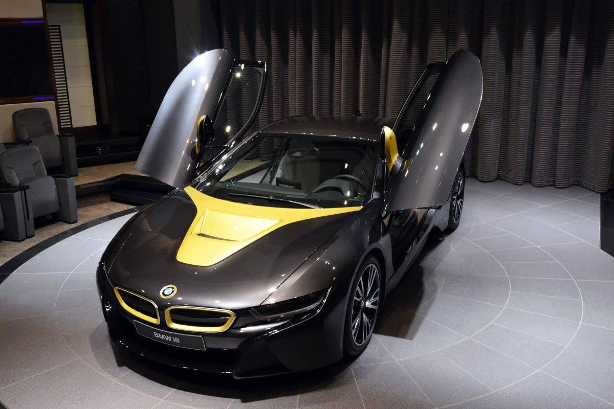 Plug In Hybrid Sports Car BMW I8 Done In Black U0026 Austin Yellow By Abu Dhabi  Motors