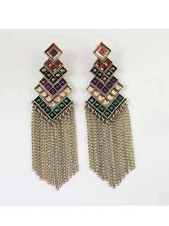 vintage golden earrings with tassels