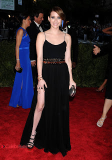 Emma Roberts Pictures in Black Long Dress at 2013 Met Gala in New York  0003