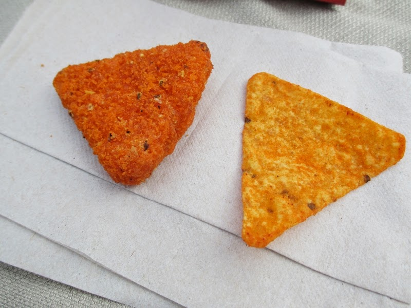 Regular Dorito Side-by-Side with Loaded Dorito