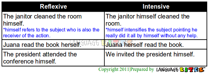 Reflexive And Intensive Pronouns Definition Pictures