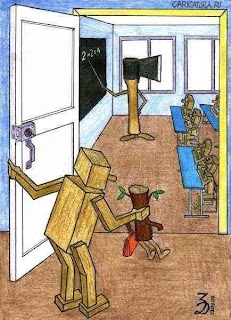 an axe as a teacher shaping his log students into wooden people