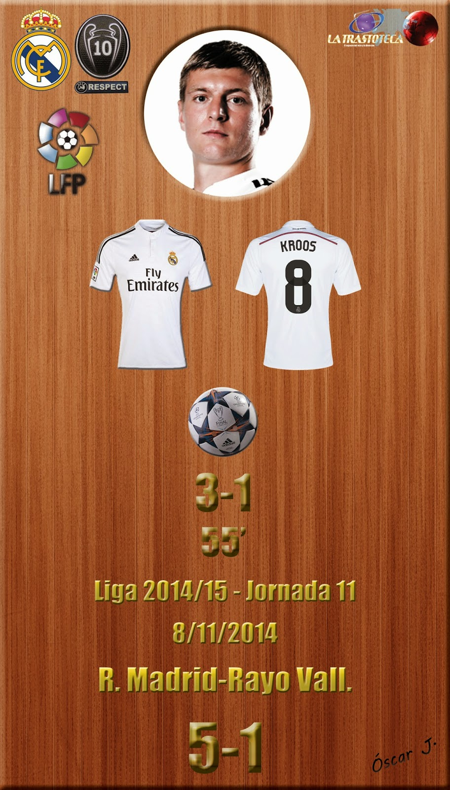 Kross - (3-1) - Real Madrid 5-1 Rayo - Liga 2014/15 - Jornada 11 - (8/11/2014)