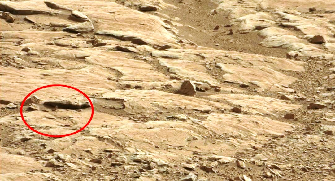 mars rover curiosity photograph strange unnatural rock on mars