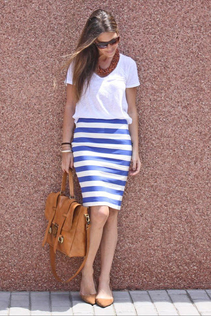 Linen T-Shirt and Striped Skirt, Zara