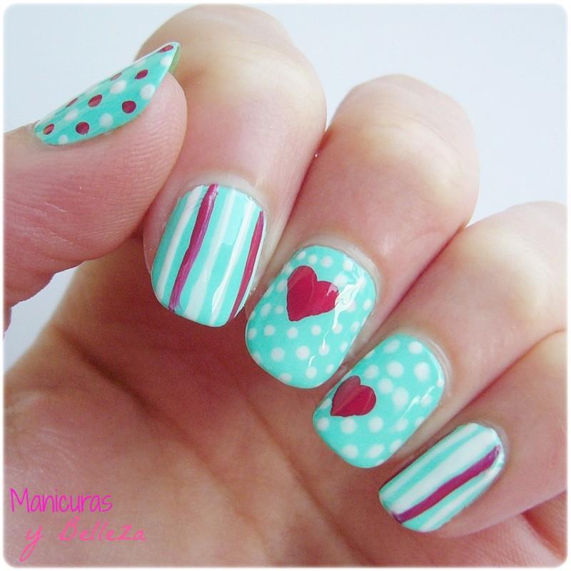 manicura vintage verde menta kiko 389 puntos dots rayas líneas lines nails nail art hearts corazones