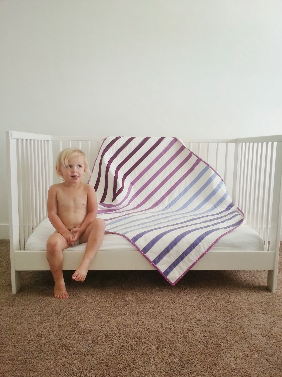 Radiant Orchid Striped Baby Quilt