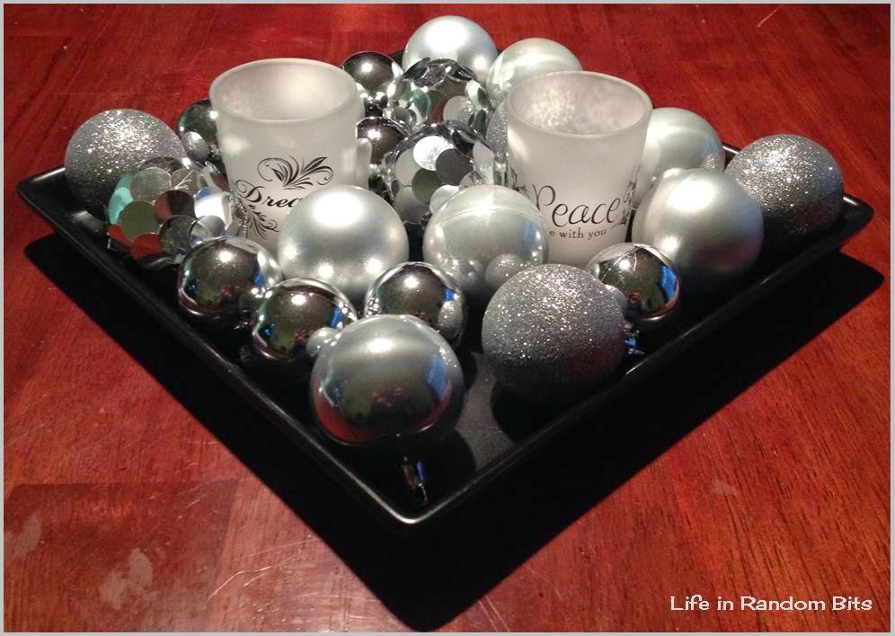 Glittery ornament centerpiece ~ Life in Random Bits #decor #christmas #diy