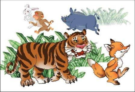 Narrative Text Fable: Tiger and Fox (Versi Bahasa Inggris - Indonesia)