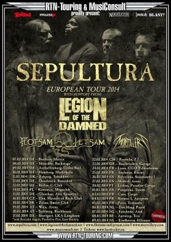 Gira por España de Sepultura, Legion of the Damned, Flotsam and Jetsam y Mortillery