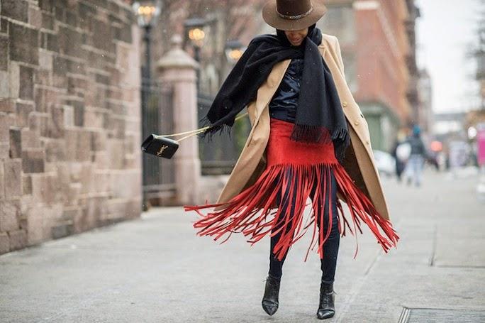 nyfw-street style-red-fringe-skirt