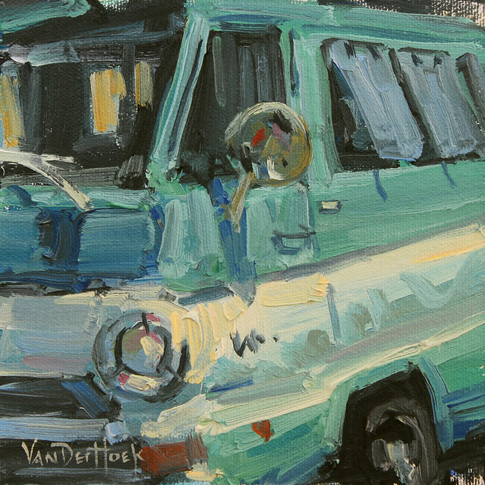Vanderhoek art dodge in blue and white classic car painting dodge in blue and white classic car painting 6x6 painting 6 squared art show wall art sciox Image collections
