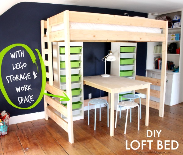 diy loft bed lego storage free plans