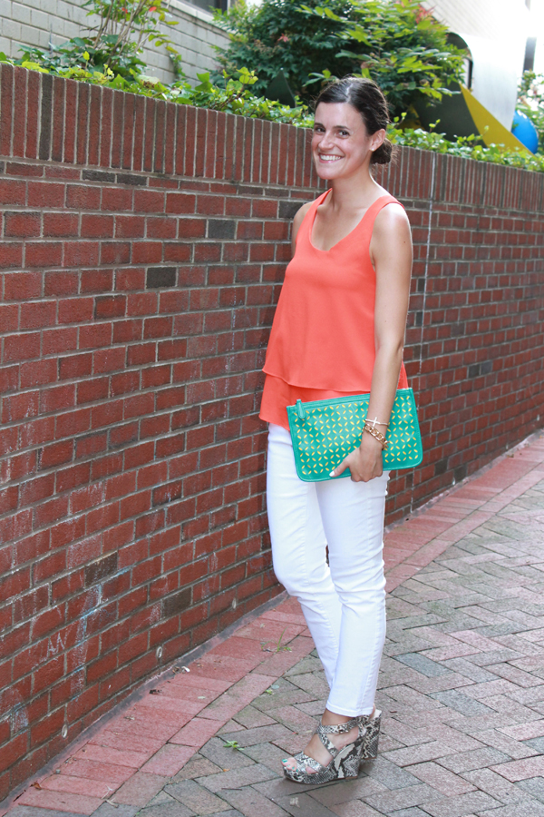 coral top, t-strap top, white jeans, gap white jeans, snakeskin wedges, forever 21 clutch