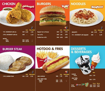 jollibee singapore menu price list