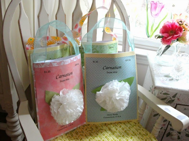 Easter gift bags embellished with coffee filter flowers
