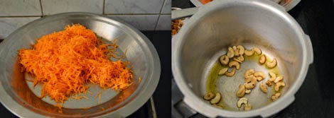 preparation for carrot halwa
