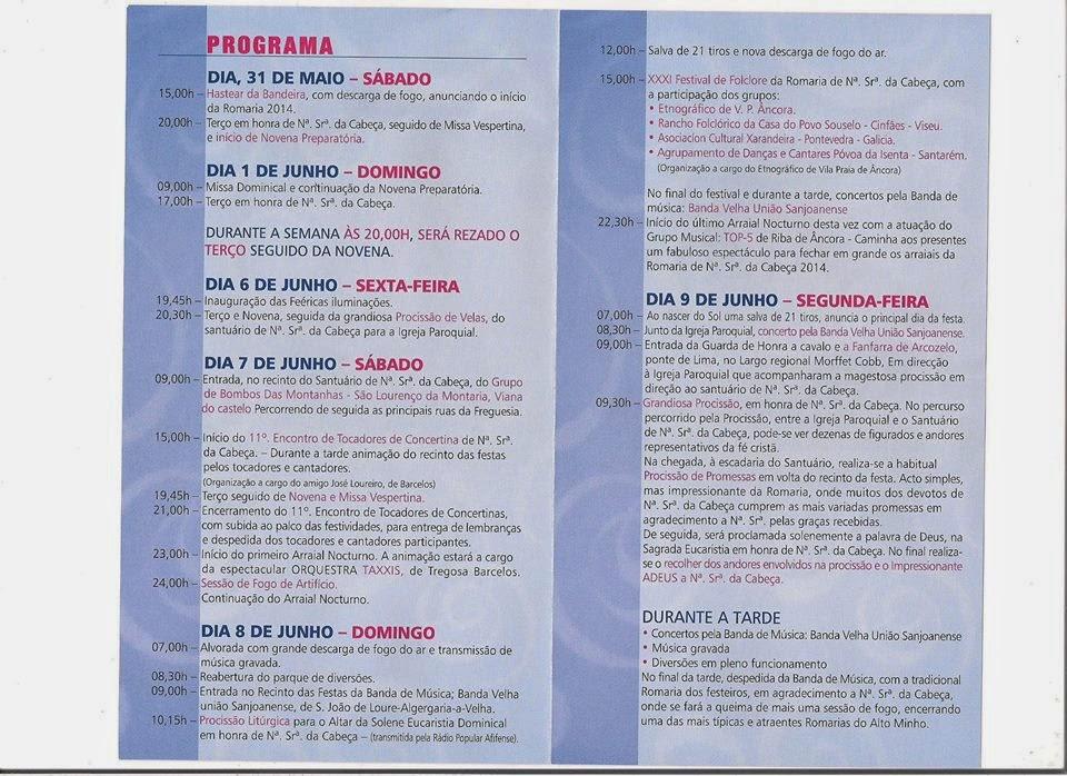 Programa da festa de Nossa Senhora da Cabeça 2014