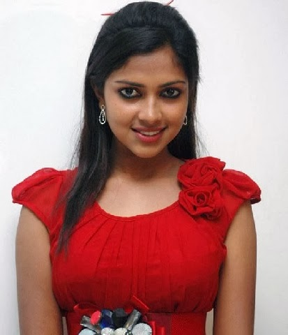 Amala Paul in red top and mini skirt