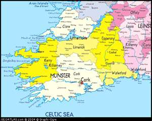 Southwest Ireland Map Pictures   Map of Ireland City Regional