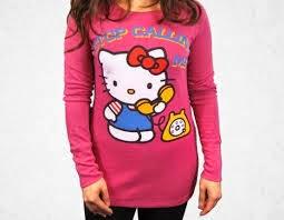 Gambar Baju Kaos Hello Kitty Pink Lengan Panjang Merah Jambu