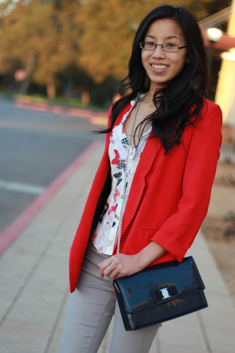 red outfit idea blazer trend boyfriend fit