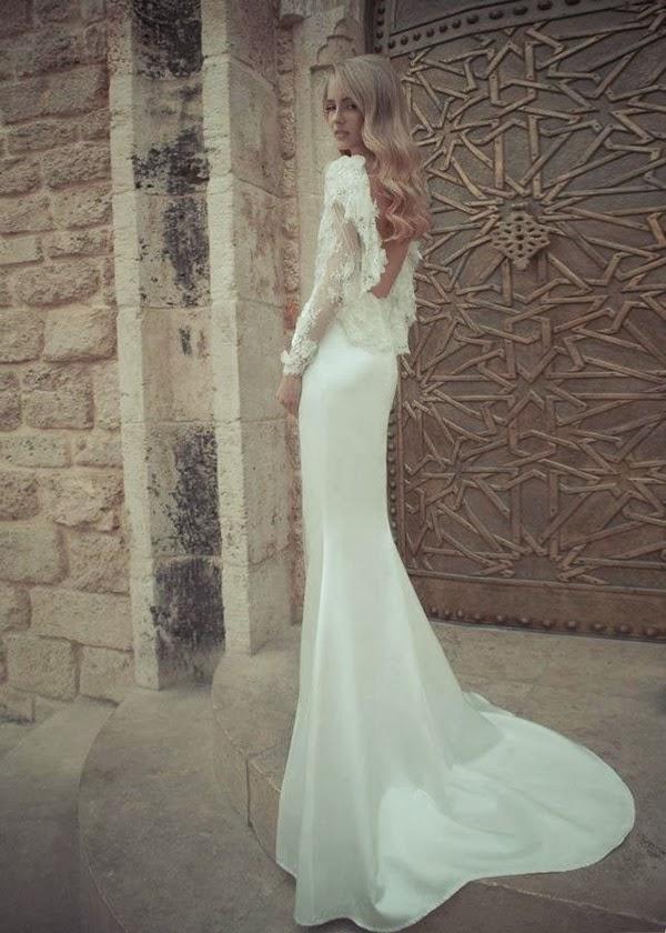 robe de mariage dos nu en dentelle au forme U