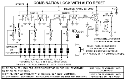 Electronic Combination Lock Circuit Diagram