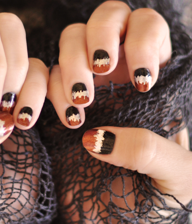 Halloween Nails w/ Black, Copper, & Silver Metallic Seismograph Nails