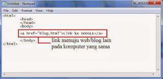 contoh dari code link HTML