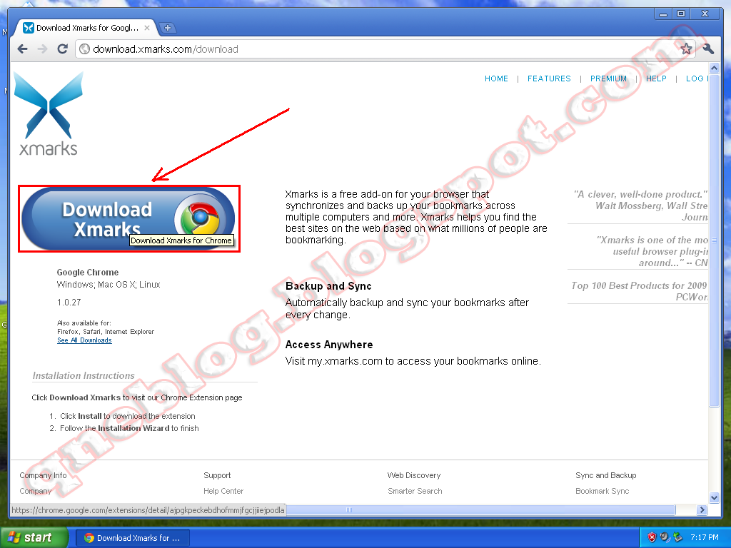 Backup your Google Chrome bookmarks Online