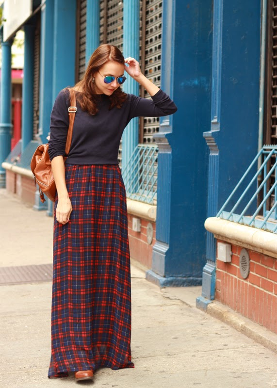 The Steele Maiden: Plaid Maxi Skirt and Mirrored Aviators