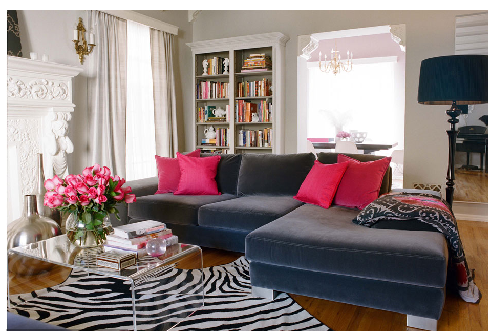 Copy Cat Chic Room Redo Pink Accented Living Room