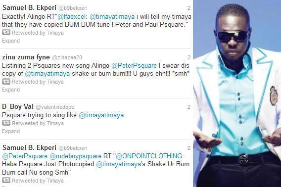 Timaya accuses P-Square of stealing 'Bum Bum' beat