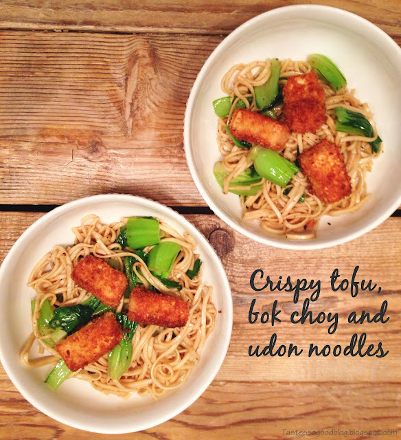 Crispy Tofu, Bok Choy and Udon Noodles | Tastes so Good Blog