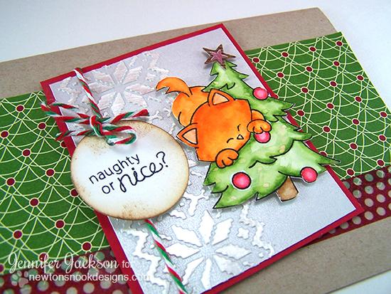 Naughty or Nice Christmas Cat card by Jennifer Jackson | Newton's Curious Christmas Stamp Set