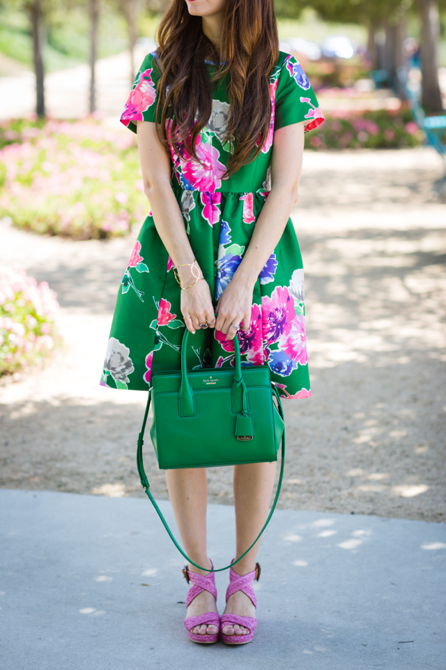 green floral print kate spade stelli dress with pink woven wedges on M Loves M fashion blogger @marmar