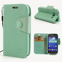 Leather Case Wallet with Stand and Card Slot Samsung Galaxy Ace 3 S7275 S7270 S7272 - Baby Green