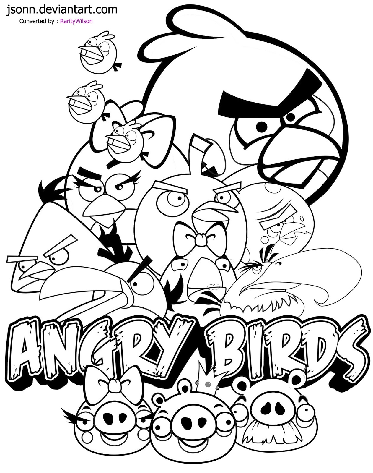 Angry Birds Coloring Pages Team colors