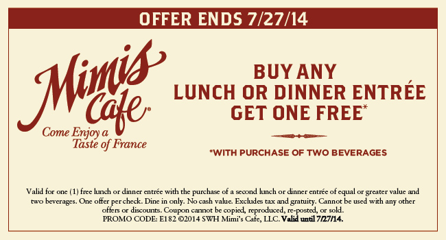 Mimi's Cafe - DetailsGreat Service · Save Time · Redeem Online · Seasonal Specials.
